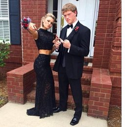 Black Lace Two Pieces Prom Gowns Sheer Beaded Sparkling Floor Length Mermaid Shape Crew Sexy Party Dress Long Homecoming Dress