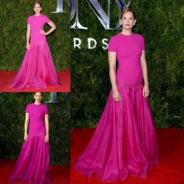 Wholesale Fuchsia Spandex Organza Sheath Celebrity Dresses Tony Awards Red Carpet Evening Dresses with Sleeves Prom Formal Gowns