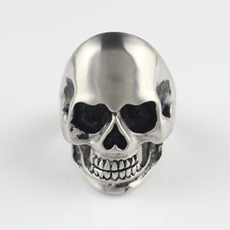 Wholesale New Style Punk Mens L Stainless Steel Silver Brushed Gothic Skull Biker Ring New Jewelry