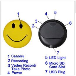 Wholesale 1pcs Cute Smile Face MP3 Player with Clip Mini DV Hidden Car DVR Spy Camera Digital Video Recorder Hidden HD Pin Pinhole Camera