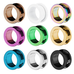 Hot sale 2015 new fashion high Free shipping 6 color stainless steel ear tunnels and plugs ear gauges stretchers piercing jewelry 2-20mm