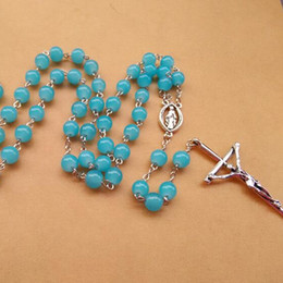 Religious Jewelry Fashion Long Design Jesus Cross Pendant 8mm Blue Glass Rosary Necklace Women In Jewelry