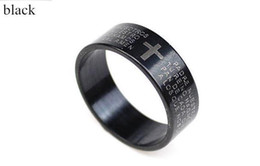 Wholesale Men Women Titanium Steel Cross Bible Metal Band Ring cool fashion rings necklace pendant blue black size US7 drop shipping