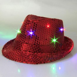 Wholesale-Cool Unisex LED Flashing Glow Hip-Hop Hat Cotton Fabric Dome Club Party Shiny Cap New Brand