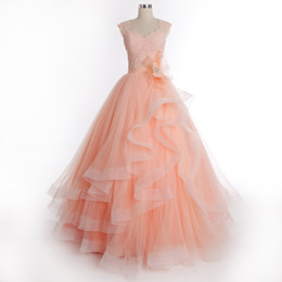 Wholesale 2015 Modern Quinceanera Dresses Sweetheart Floor Length Tulle Lace Beads Evening Dresses Tiers Handmade Flower W2861