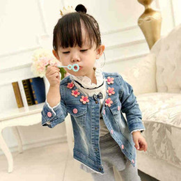 Children Jacket Korean Girl Dress Kids Jackets Girls Coat Childrens Clothes Kids Clothing 2015 Spring Autumn Coat Flower Denim Jacket C6570