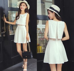 Women's Faux Two-piece Dress Summer Lady's Clothing Chiffon Lace Patchwork Hollow Out Sleeveless Elegant White Casual Dress