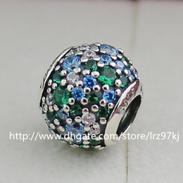 925 Sterling Silver Ocean Mosaic Charm Bead with Green Cubic Zirconia Fits European Jewelry Bracelets & Necklaces