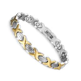 Descuento alto acero inoxidable pulido Cuidado de la Salud Energía Pulseras Magnéticas Brazaletes Mujer 316L Acero Inoxidable Alto Polished IP Gold Plantación Pulsera Ancha 6MM Fashion Jewelry