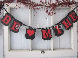 Wholesale Set Black BE MINE New Arrival Chic Wedding Photo Prop Sign Hanging Bunting Garlands