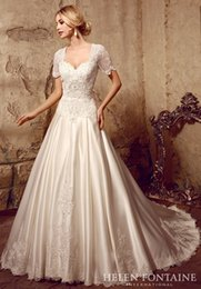 Wholesale 2016 Girl Antique Modest Bridal Gowns Modest Princess Queen Anne Appliques Satin Wedding Gowns With Sleeves Vestidos De Novia HFW10180