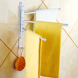 Wholesale 3 Swivel Bars Rotary Bar Wall mounted Bathroom Accessories Kitchen Towels Holder Hanger Aluminium Towel Rack Prateleira H14493