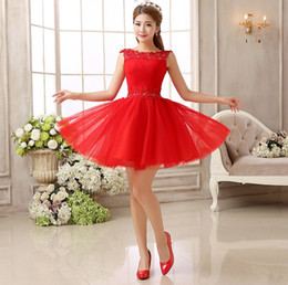 Shanghai Story fashion Red Lace Bride short fashion sexy dress Bridesmaid Dresses wedding for party Club girl women fashion Clothes LF251