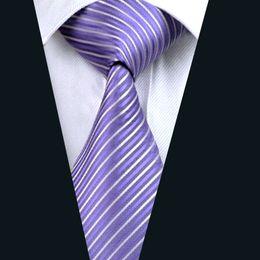 Classic Purple Stripe Necktie for Men Silk Jacquard Woven Business Tie Meeting Casual Suit Tie D-0313