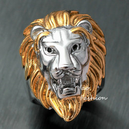 Men's Huge Gold Silver Tone Lion 316L Stainless Steel Biker Ring King Of Animal Head Face Leo Punk Fashion Jewelry X'mas Gift