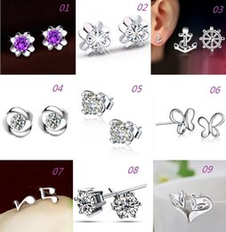 Wholesale New Women Silver Stud Earrings Fox Butterfly Anchor Design Anti Allergic Silver Jewelry Stud Earrings