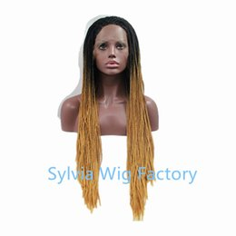 Hot Sales african brazilian premium black brown synthetic braided wigs lace front wig heat resistant fiber