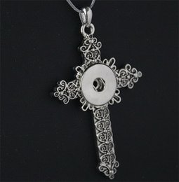 Wholesale Vintage Cross Pendant Antique Silver Plated NOOSA Jewelry Interchangeable Snap Button DIY Necklace Handmade Valentine Gift DCBJ231