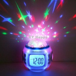Wholesale Music Starry Star Sky Projection Alarm Clock Calendar Thermometer For Best gift freeshipping dropshipping