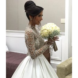 2016 vestidos de novia Wedding Dresses Ball Gown Crew with Beaded Embroidery Illusion Top and Satin Court Train Long Sleeves Bridal Gowns