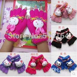 Wholesale-3PAIRS LOT Hot selling Animal Decor Baby Gloves Half Fingers Halter-neck Thermal Gloves