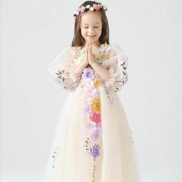 Formal Lace tutu Princess Bridesmaid Flower Girl Dresses Wedding Party Dresses Girl Princess Dress Kid Party Pageant Wedding Bridesmaid