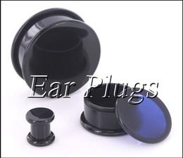 Box Plugs black acrylic thread hollow center stash ear plug gauges ear tunnel expander 10-24mm 80pcs bag ASP0493