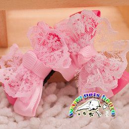 CL902 Wholesale 10 pcs lot pet products lace pink accessories for dogs dog hair grooming bows ties for hair dogs yorkshire