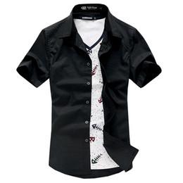 Wholesale-Fashion design free shipping 100% cotton summer men shirts short sleeve dress shirts Black Navy White BB317