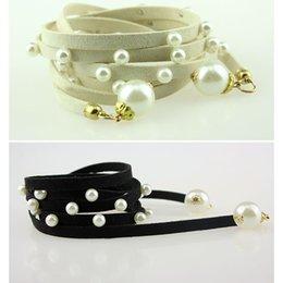 5pcs / lot Noble Ceintures de perles de cuir long Solid Color Bracelet Ceintures Mesdames extérieure Make Up Accessoires os808 à partir de perle solide fabricateur
