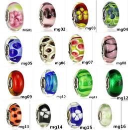 2017 les types d'incendie 54 types S925 argent sterling Fascinant haute feu Facettes Murano Glass Beads Fit l'Europe pandora bijoux Charms Bracelets bricolage pendentifs bon marché les types d'incendie