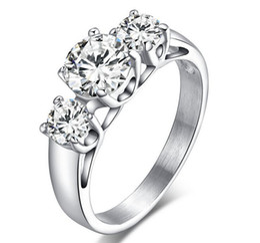 1CT Titanium steel Use Swarovski Crystal Simulation of Diamond 1ct Bridal wedding ring Gift Fashion Engagement Ring