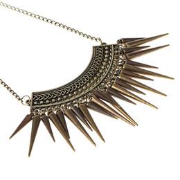 Brand Punk Bronze Spikes Statement Necklace Women Vintage Necklaces & Pendants Fashion Boho Turkish Jewelry Wholesale N376