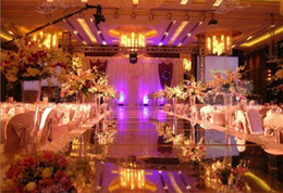 Wholesale Wedding Centerpieces Mirror Carpet Aisle Runner Gold Silver Double Side Design T Station Decoration Wedding Favors Carpets New Arrival