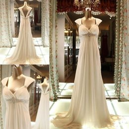 Wholesale Actual Image Long Dresses Evening Wear V Neck Beaded Waist Empire Waist Beach Summer Prom Dress Formal Occasion Party Gown Cheap