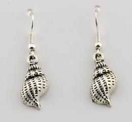 Hot ! 15 pair Antique silver Single-sided conch Charms Earrings With Fish hook Ear Wire 10 X 35mm