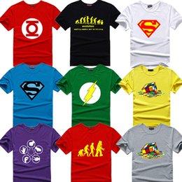 Wholesale The Big Bang Theory T shirt Sheldon Cooper super hero green lantern the flash cosplay t shirts men women geek tee TBBT tshirt