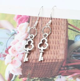 Small Open Key Earrings 925 Silver Fish Ear Hook 50pairs lot Dangle 6.3x33 mm Chandelier Jewelry E877