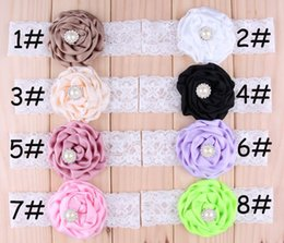 Lovely Baby Satin Rose Headbands Girl Lace Hairbands Children Hair Accessories Rhinestone Flower Hair band Christmas Hair Ornaments