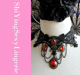 Wholesale Vintage Punk Vampire Lace Necklace with Tassel Cheap price Cost Fast Delivery