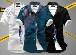 Mens Shirts Fashion Mens Breathable and Cotton Casual Shirts Hot Male Polka Dots and Short Sleeve Slim Shirts Two Piece