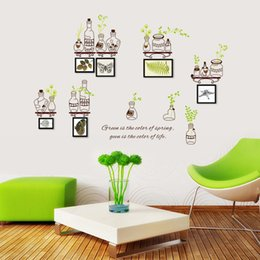 Wholesale Call sticker green bottle picture frame Photo wall sofa background wall decorative bedroom window living room wallpaper
