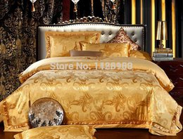 Wholesale King Sized Silk Sheet Sets - Satin jacquard Luxury bedding sets 100%cotton sheets Christmas 4pcs designer bed in a bag linen lace duvet covers king size bedclothes