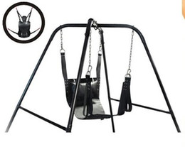 Wholesale Sex Furniture Black Sex Hammock BDSM Strict Leather Sling Stirrups and Pillow Sex Game Sex Adult Toys for Couple Not including Support Frame