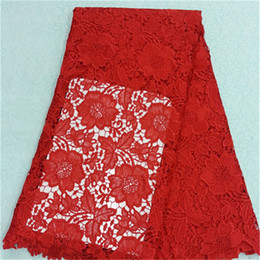 Beautiful african water soluble lace fabric with red flower embroidery french guipure lace cloth for dress BW68-12,5yards pc