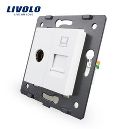 Wholesale Manufacture Livolo White Crystal Glass Panel Gangs Wall Computer and TV Socket Outlet VL C7 VC Without Plug adapter