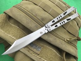 Wholesale The one Alpha Butterfly Knife Balisong C Satin Blade Stonewash Stainless Steel Handle blade types