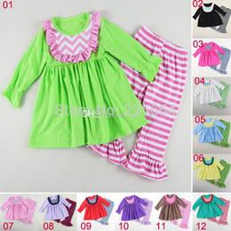 Christmas girls long Sleeve Cotton Baby Girl pants sets kids solid ruffled dress chevron bibs & striped ruffled pants set