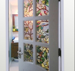 3D Magnolia Flower Stained Glass Film Static Cling Window Film for Bathroom Frosted Privacy Window Decoration Decal Film