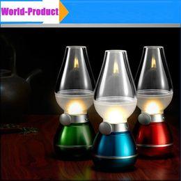 Wholesale LED Retro Lamp Lamps Novelty Lighting USB Rechargeable Blowing Kerosene Adjustable Blow On Off Night Light Home Decroration